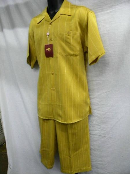 SKU#FW3022 Mustard Mens Fashion Short Sets $49