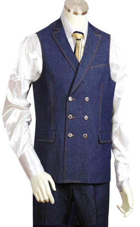 Mens 2pc Blue Denim Vest Sets
