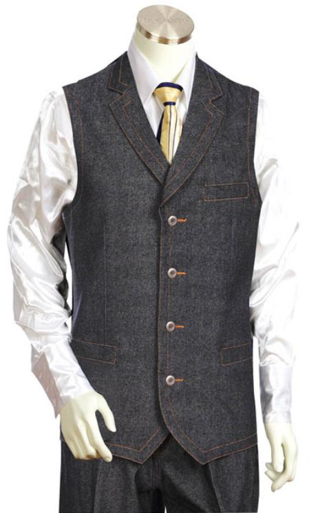 SKU#WV9001 Mens 2pc Black Denim Vest Sets $105