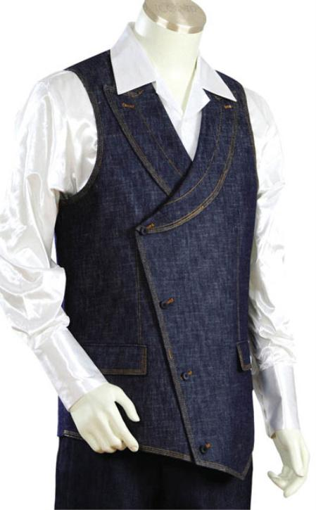 SKU#GQ9202 Mens 2pc Denim Vest Sets- Blue $105