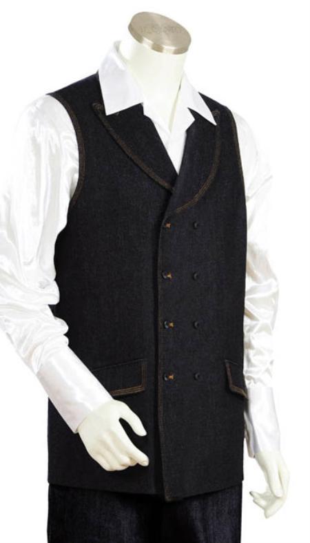 MensUSA.com Mens 2pc Denim Vest Sets Black(Exchange only policy) at Sears.com