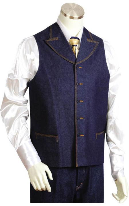 SKU#HT2457 Mens 2pc Denim Vest Sets in Blue $125