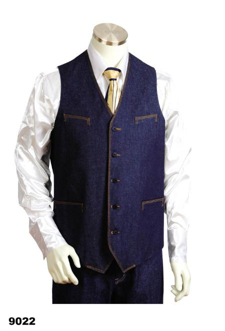 SKU#VD0212 Mens 2pc Blue Denim Vest Sets With Urban Styled Jeans $125