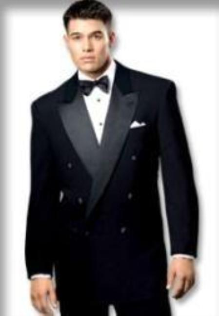 SKU# 32II Solid Black Double Breasted Tuxedo Suit 6 on 1 Button Closer Style Jacket