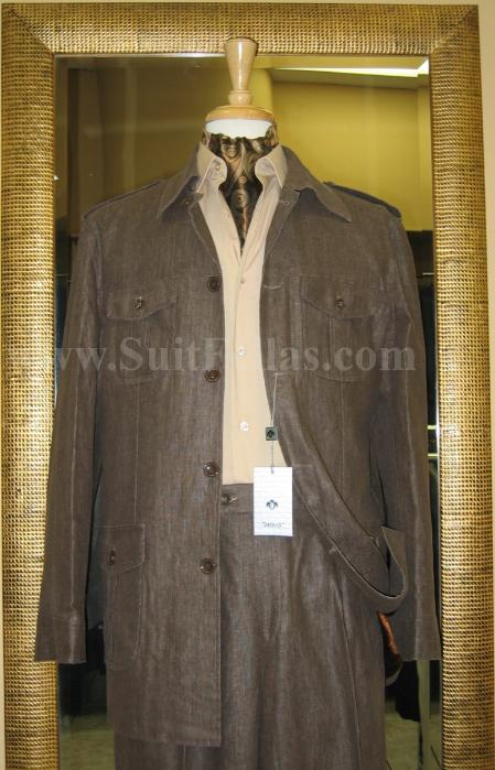 SKU#QW3001 5 Button Patch Pocket Brown Linen Blend Wide Leg Leisure Suit $139