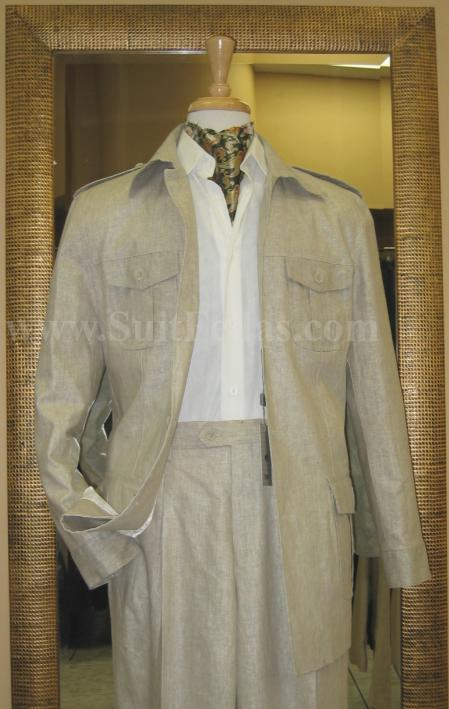 SKU#TM9330 5 Button Patch Pocket Sage Linen Blend Wide Leg Leisure Suit $139