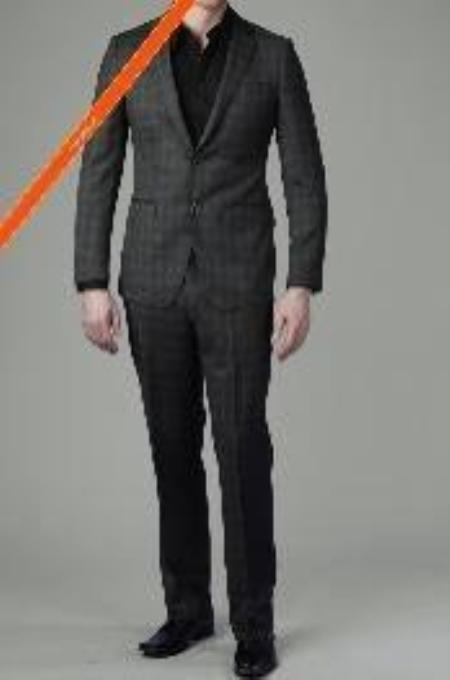 SKU#CH6811 Tapered Leg Lower rise Pants & Get skinny 2-Button Charcoal Ticking Glen Plaid Slim Suit