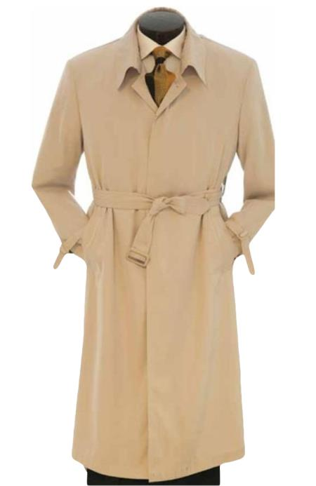 Mens Dress Coat Full Length Trench Rain Coat In Khaki Tan Taupe Long Style