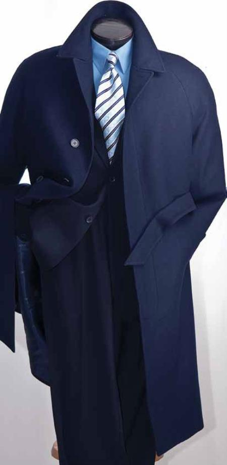 SKU#UK2892 Mens Full Length Wool Top Coat in Navy $199