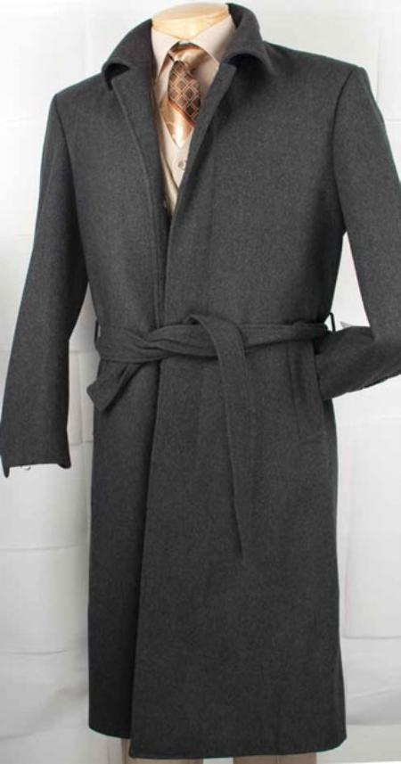 SKU#VM2920 Mens Cashmere Blended Top Coat Charcoal Grey $199