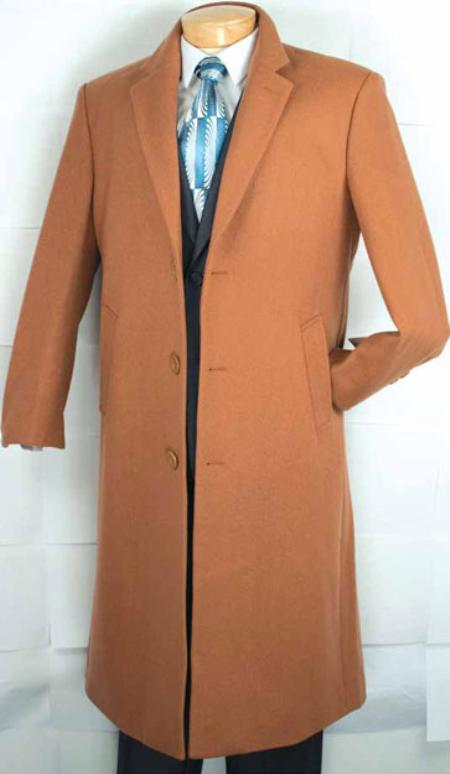 SKU#MA2121 Mens Cashmere Blended Top Coat Vicuna $159