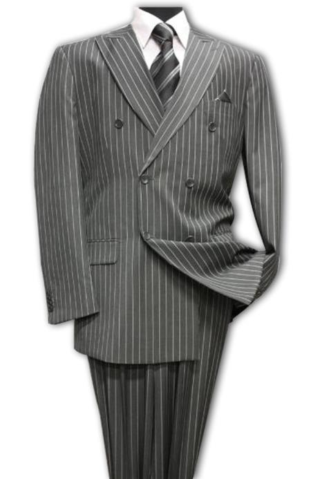 Charcoal/PS Classic Double Breasted Mens Suit with Pinstripe Stripe (Wholesale price $95 (12pc&UPMinimum))