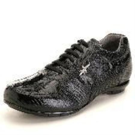 SKU#JZ6866 High Top Exotic Skin Sneakers for Men Black Genuine Hornback & Lizard Sneaker $239