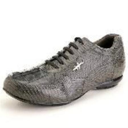 SKU#YF6922 High Top Exotic Skin Sneakers for Men Grey Genuine Hornback & Lizard Sneaker $239