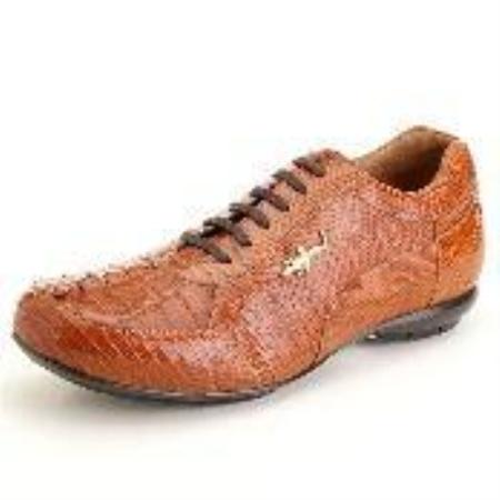 SKU#GM3321 Copper~Rust~Cognac Genuine Hornback & Lizard Sneaker $239