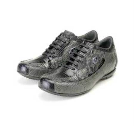 SKU#BZ5922 Black & Grey Genuine Lizard/Crocodile Sneaker $239