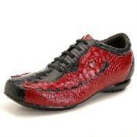 SKU#EQ1222 High Top Exotic Skin Sneakers for Men Black/Red Lizard & caiman ~ alligator Sneaker $239