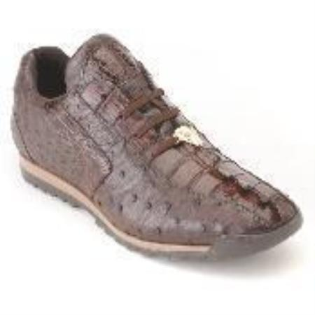 SKU#BW8892 Brown Genuine Croc & Ostrich Sneakers $330