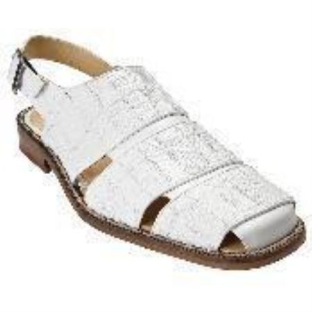 SKU#WE03212 White Genuine Lizard Patchwork Sandal $159