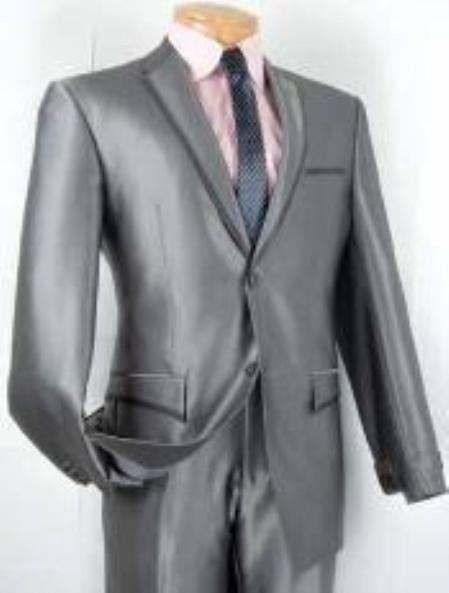 SKU#AK9110 Mens Single Breasted 2 Button Slim Fit Suit Gray $799
