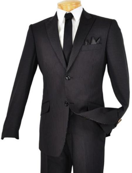 SKU#BL9211 Tapered Leg Lower rise Pants & Get skinny Mens Single Breasted 2 Button Peak Lapel Slim Fit Suit Black $125