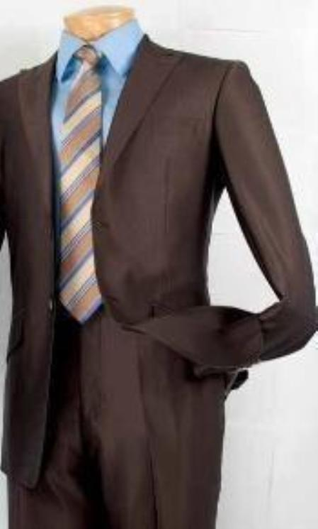 SKU#BW7211 Mens Fashion Slim Fit Suit in Luxurious Wool Feel Brown $139