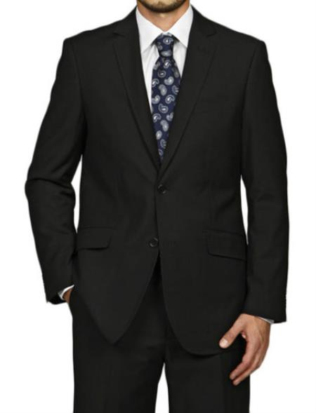 SKU#DF7116 Mens Slim Fit Black 2-button cheap discounted Suit
