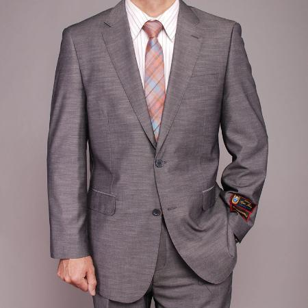 MensUSA.com Mens Gray Textured 2 button Slim fit Suit(Exchange only policy) at Sears.com