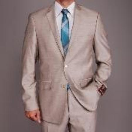 SKU#BN4569 Mens Pearl Grey Sharkskin 2-button Slim-fit Suit $149