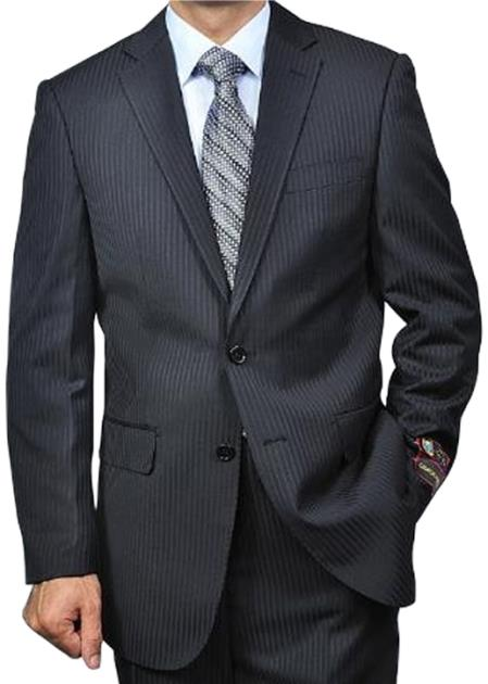 SKU#Stripe2V Mens Black On Black Tonal Pinstripe 2-button Shadow Stripe Regular Fit Flat Front Pants Suit