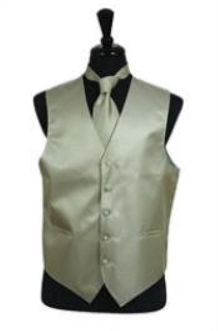 SKU#VS2036 Horizontal Rib Pattern Vest Tie Set greenish color with some hint of Gray