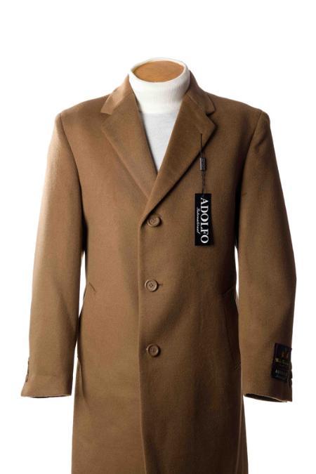 SKU#RA8212 3/4 Cashmere Wool Topcoats ~ overcoat Tan ~ Beige
