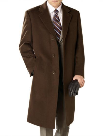 SKU#WF9202 Reg: $1495 Lanzino Luxurious High-Quality 30% Cashmere Premium Top Coat Brown Price $495