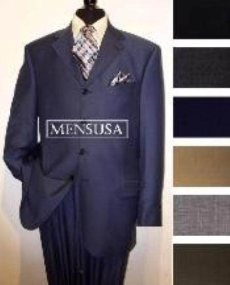 SKU# MU4W Wide Leg Pants 4 Button Mens Suits Come in 4 Colors 100% Wool Super 150s Premier Quality $199
