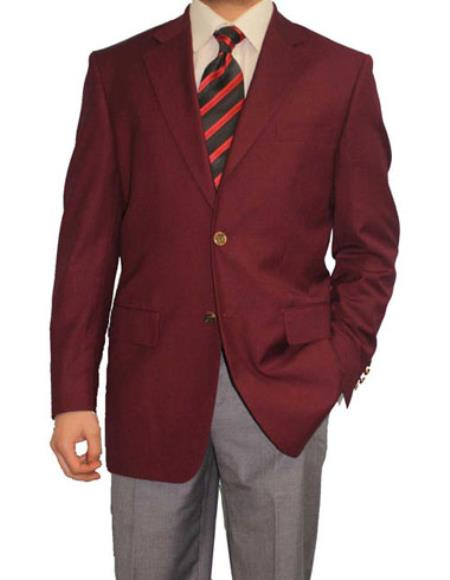 SKU#TS8194 Mens 2 Button Burgundy ~ Maroon ~ Wine Color Blazer Sport Coat