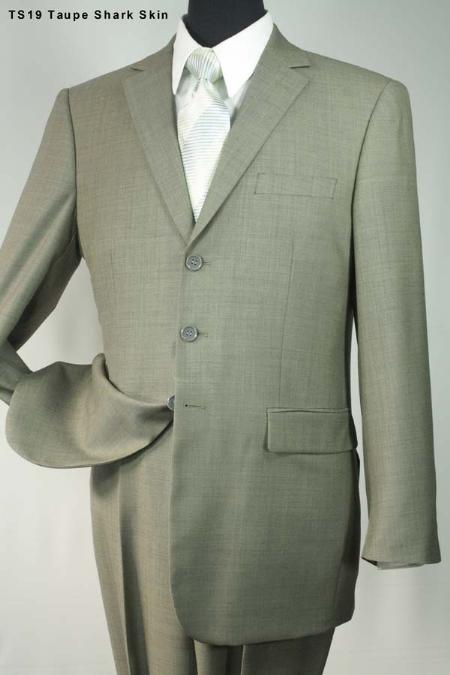 SKU#HZ7218 Taupe Sharkskin 3 Button Super 140s Wool Mens Suit $275