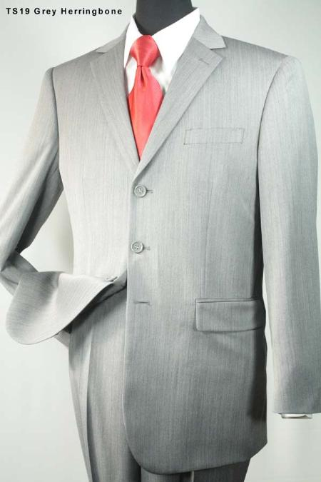 SKU#PG5111 Super 140s 3 Button Wool Suit Grey $275