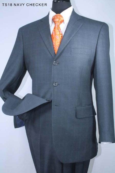 SKU#RB5287 Super 160s 100% Wool Single Breasted 3 Button Navy Checker Suit $275