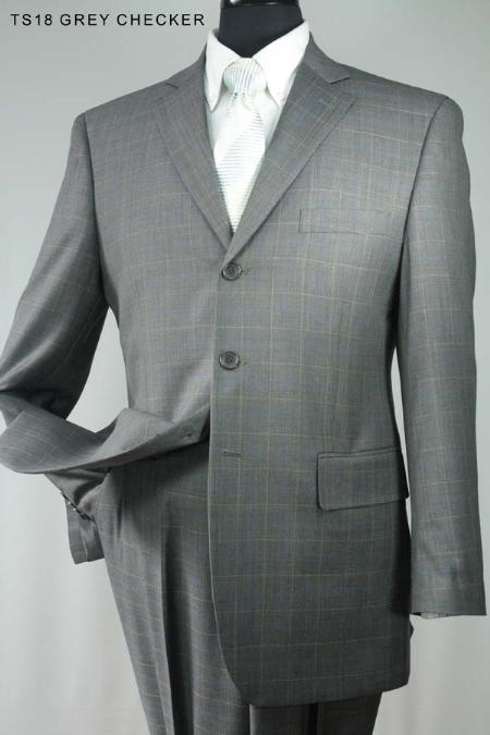 SKU#FY8710 Mens 3 Button Super 160s 100% Wool Grey Checker $275