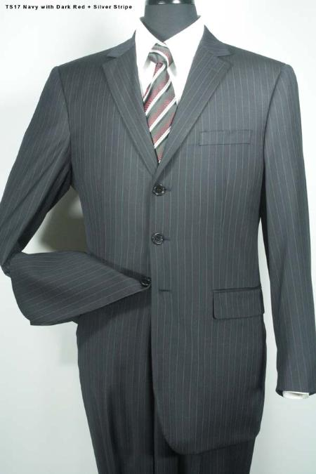SKU#MV2699 Super 140s Single Breasted 3 Button Wool Suit Navy Silver Stripe $275