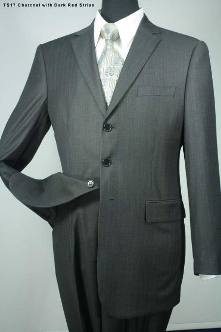 SKU#RG5271 Mens 3 Button Super 140s Wool Suit Charcoal Gray With Maroon (Conservative Red ) Pinstripe $275