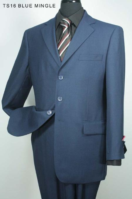 SKU#VT6710 Mens 3 Button Black mingle Stripe Super 140s Wool Suit $275