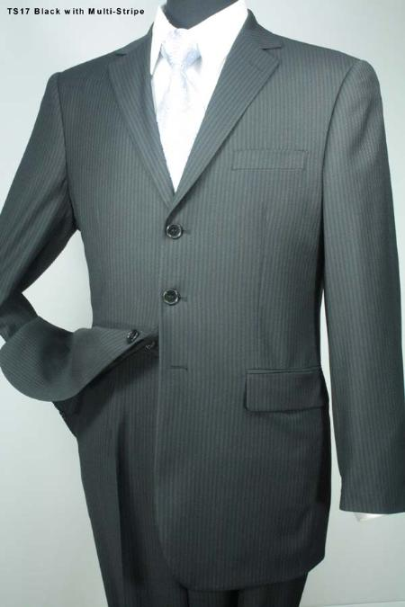 SKU#NR3822 Mrnd 3 Button Super 140s Wool Suit  Black with Multi Stripe $275
