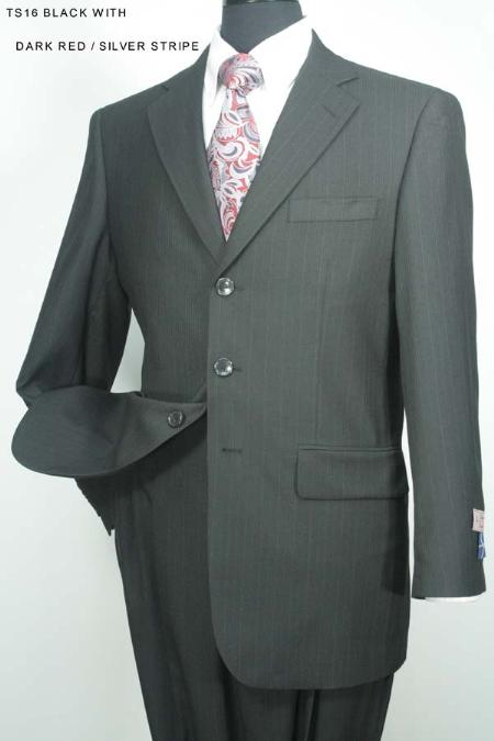 SKU#HW7837 Mens 3 Button Black With Silver Stripe Super 130s 100% Wool Suit $275