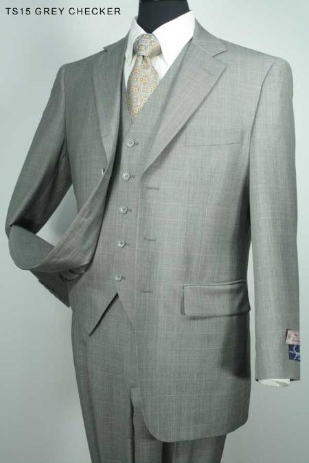SKU#JR3524 Mens 3 Button Super 130s 100% Wool Suit Grey Checker $275