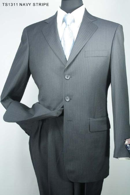 SKU#YR5630 Mens 3 Button Super 130s Super Fine Wool Suit Navy Stripe $275