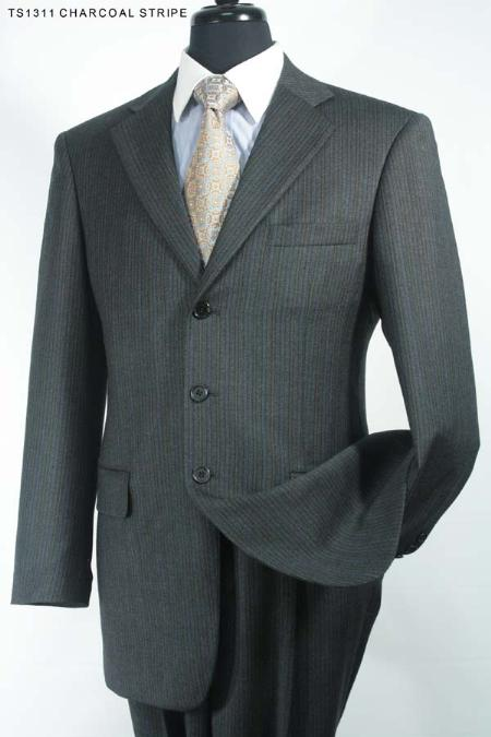 SKU#RT6296 Mens 3 Button Super 130s Super Fine Wool Suit Charcoal Stripe $275