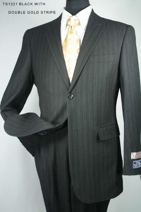 SKU#UR7820 Black With Grey Stripe Mens 3 Button Super 130s Super Fine Wool Suit $275