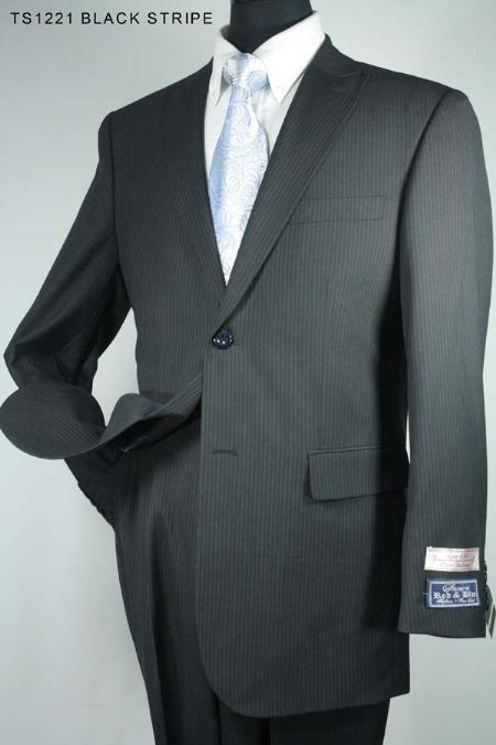 SKU#FW7320 Mens 3 Button Black Stripe Super 130s Super Fine Wool Suit $275