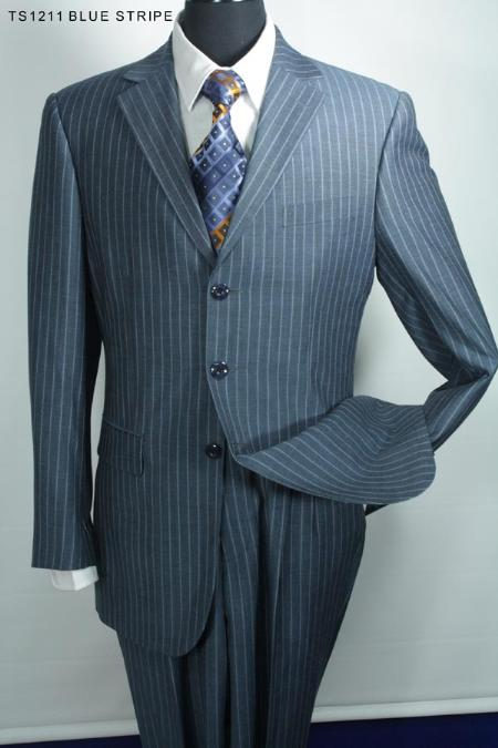 SKU#RG4019 Super 130s Mens 3 Button Fine Wool Suit Blue Stripe $275